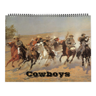 Vaqueros del oeste americanos del vintage, bella calendarios de pared
