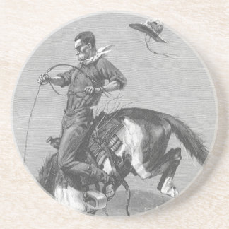 Vaqueros del rodeo del vintage, caballo salvaje posavasos de arenisca