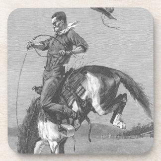 Vaqueros del rodeo del vintage, caballo salvaje posavaso