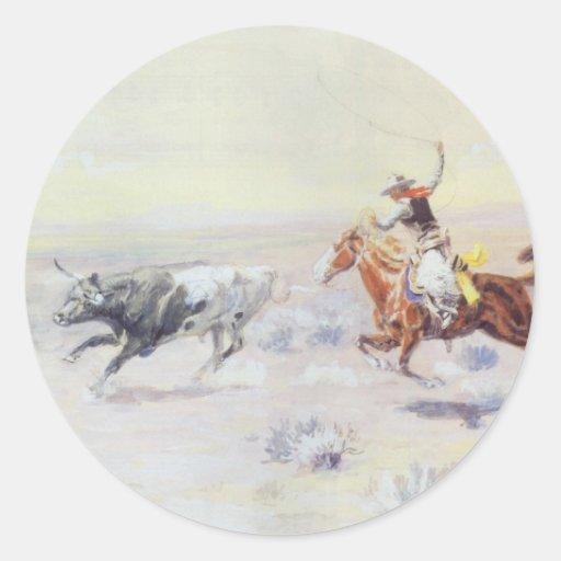 Vaqueros del triángulo de la barra por cm Russell Etiquetas Redondas