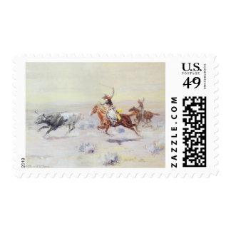 Vaqueros del triángulo de la barra por cm Russell Timbre Postal