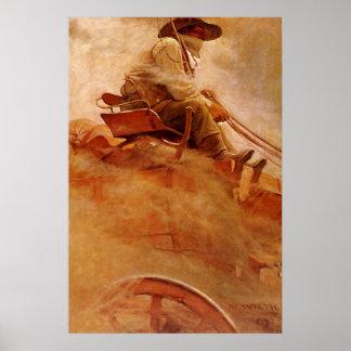 Vaqueros del vintage, el carro del mineral por NC Póster