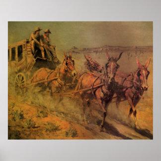 Vaqueros del vintage, el coche de la etapa de Juan Póster