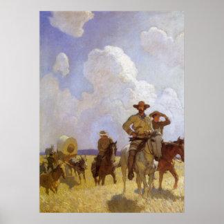 Vaqueros del vintage, el equipo de Parkman por NC Póster