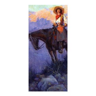 Vaqueros del vintage, hombre y mujer en caballos, diseño de tarjeta publicitaria