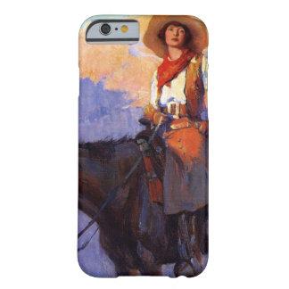 Vaqueros del vintage, hombre y mujer en caballos, funda para iPhone 6 barely there