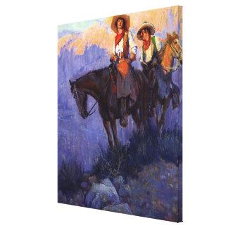 Vaqueros del vintage, hombre y mujer en caballos, impresión en lienzo