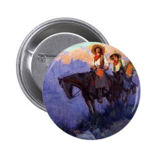 Vaqueros del vintage, hombre y mujer en caballos, pin redondo de 2 pulgadas