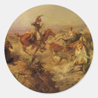 Vaqueros del vintage, movidos de un tirón abajo pegatina redonda