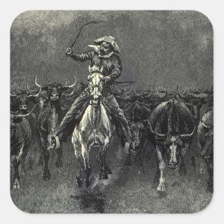 Vaqueros del vintage, una precipitación de pegatina cuadrada