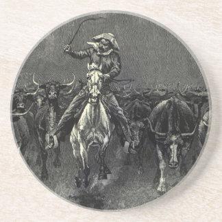 Vaqueros del vintage, una precipitación de posavasos cerveza
