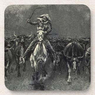 Vaqueros del vintage, una precipitación de posavasos de bebida