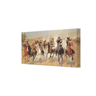Vaqueros del vintage, una rociada para la madera impresion de lienzo