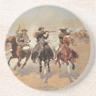 Vaqueros del vintage, una rociada para la madera posavasos manualidades