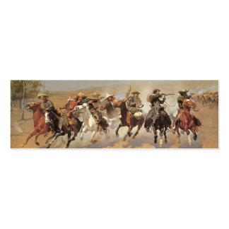 Vaqueros del vintage, una rociada para la madera tarjetas de visita mini