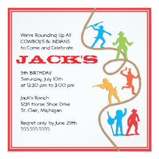 Vaqueros e invitación de la fiesta de cumpleaños