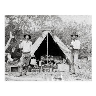 Vaqueros en el campo, 1890 tarjeta postal