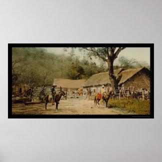 Vaqueros en la hacienda mexicana 1890 posters
