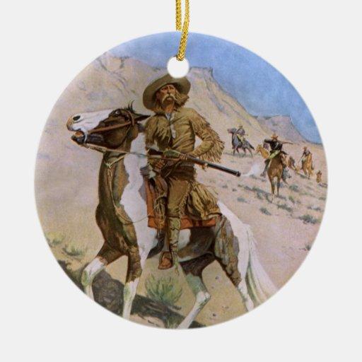 Vaqueros militares del vintage, el explorador por adorno navideño redondo de cerámica