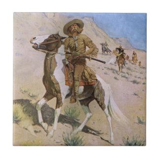 Vaqueros militares del vintage, el explorador por azulejo cuadrado pequeño