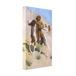 Vaqueros militares del vintage, el explorador por impresion de lienzo