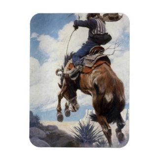 Vaqueros occidentales del vintage, Bucking por NC Rectangle Magnet