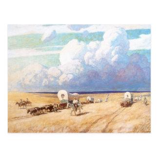 Vaqueros occidentales del vintage, carros postales
