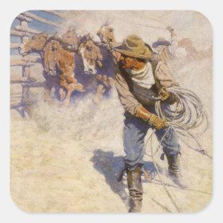 Vaqueros occidentales del vintage, en el corral pegatina cuadrada