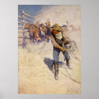 Vaqueros occidentales del vintage, en el corral póster