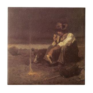 Vaqueros occidentales del vintage, pastor de los azulejo cuadrado pequeño