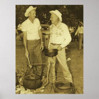 Vaqueros occidentales del vintage que cocinan en póster