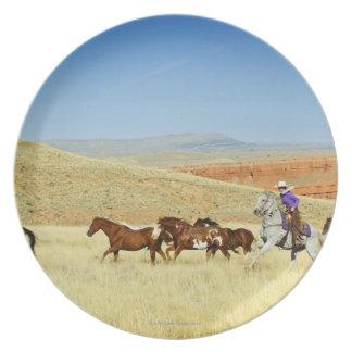 Vaqueros que reúnen caballos plato de cena