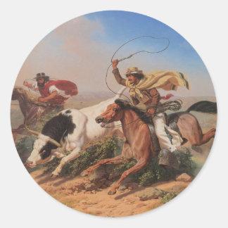 Vaqueros Roping a Steer Classic Round Sticker