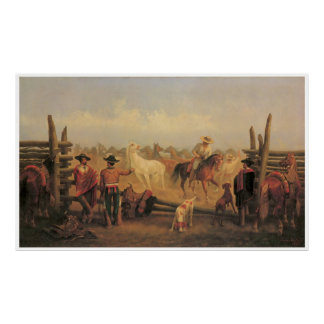 Vaqueros Roping Horses in a Corral, 1877 Poster