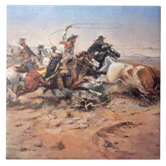 Vaqueros roping un buey, 1897 (aceite en lona) azulejo cuadrado grande