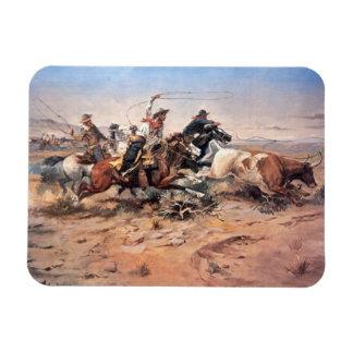 Vaqueros roping un buey, 1897 (aceite en lona) iman rectangular