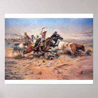 Vaqueros roping un buey, 1897 (aceite en lona) poster