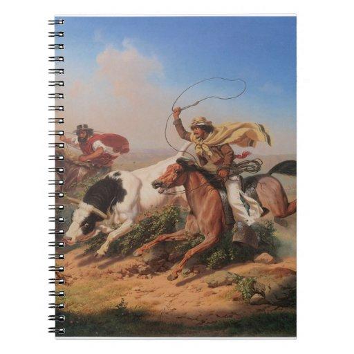 Vaqueros Roping un buey Libro De Apuntes Con Espiral