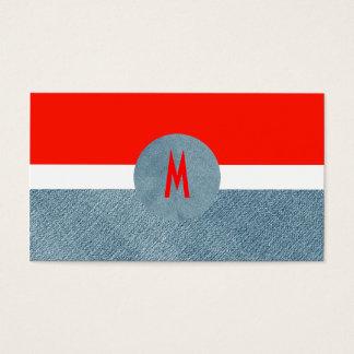 Vaqueros únicos del dril de algodón del monograma tarjetas de visita