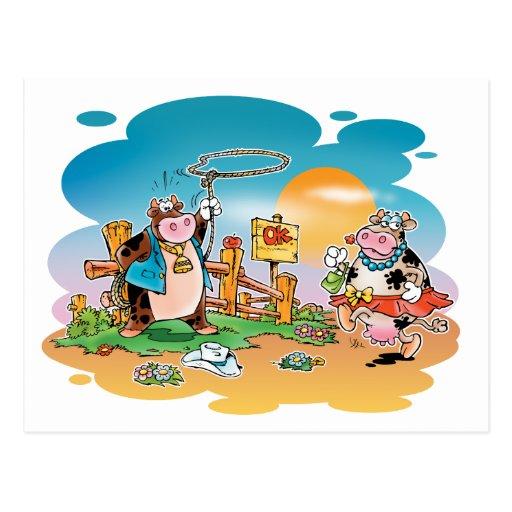 Vaqueros y Vaca-chicas Postal