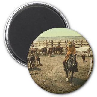 Vaqueros y vacas imán redondo 5 cm