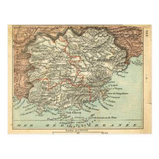 Var, 1890 French Provincial map, Postcard