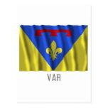 Var waving flag with name postcard
