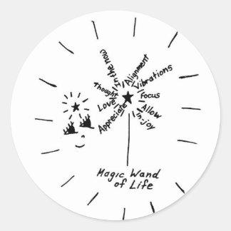 Vara mágica de los pegatinas de la vida pegatina redonda