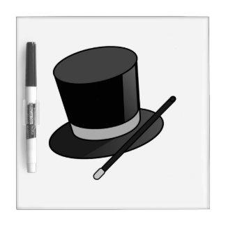 Vara y gorra del mago tableros blancos