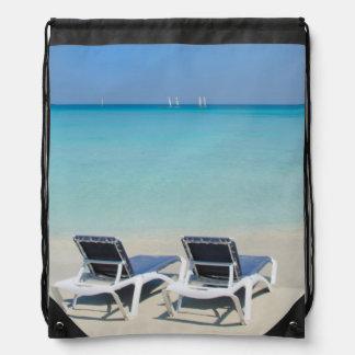 Varadero, Cuba. Sand And Beach Chairs Drawstring Bag
