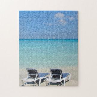 Varadero, Cuba. Sand And Beach Chairs Jigsaw Puzzle