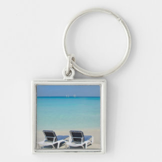 Varadero, Cuba. Sand And Beach Chairs Silver-Colored Square Keychain