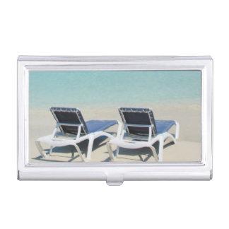 Varadero, Cuba. Sillas de la arena y de playa Cajas De Tarjetas De Negocios
