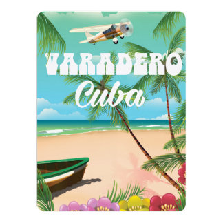 Varadero Cuban beach vacation poster Card